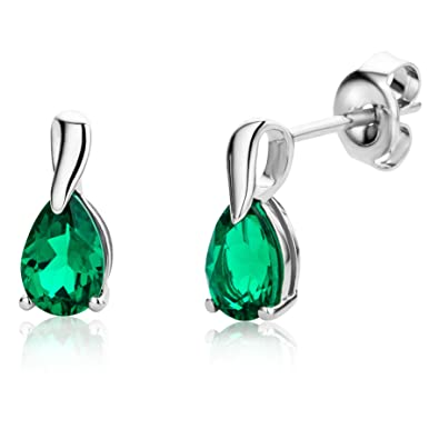 Miore Ladies 9ct White Gold Pear shape Emerald Earrings MG9231E 8zkpalre