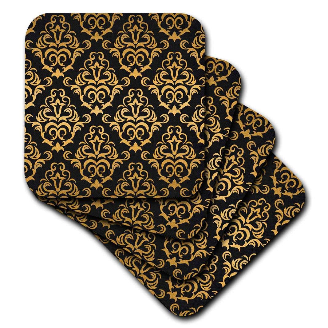 3dRose CST_239966_2 Glam Gold and Black Large Damask Pattern Soft Coasters