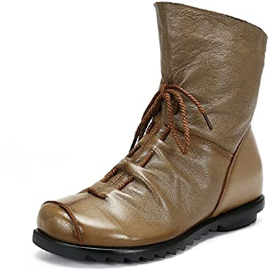 Women's Handmade Soft Leather Shoes Side Zipper Flat Ankle Boots Retro Mid-Calf Lady Girls Warm Bootie