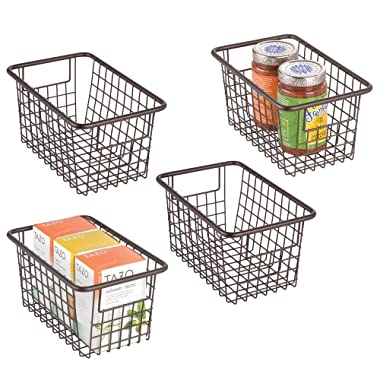 mDesign Modern Farmhouse Deep Metal Wire Storage Organizer Bin Basket with Handles for Kitchen Cabinets, Pantry, Closets, Bedrooms, Bathrooms, Laundry Rooms, Garages - 5.25  High, 4 Pack - Bronze
