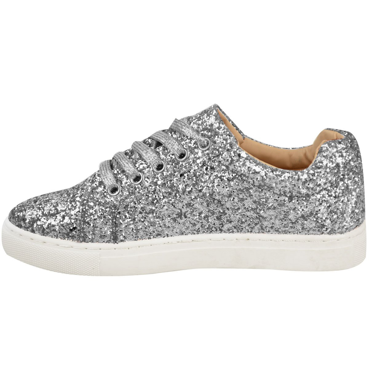 Ladies Pink White Sole Lace Up Glitter Sports Style Trainers Gym Shoes Size UK 5