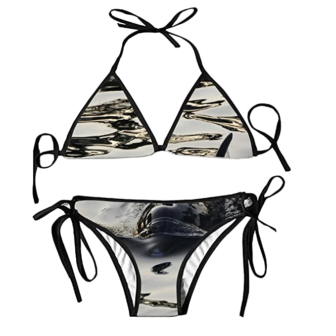 9c6802d44f838 Women s Bathing Suit Adjustable Black Dolphin Sexy Bikini Set 2 Piece
