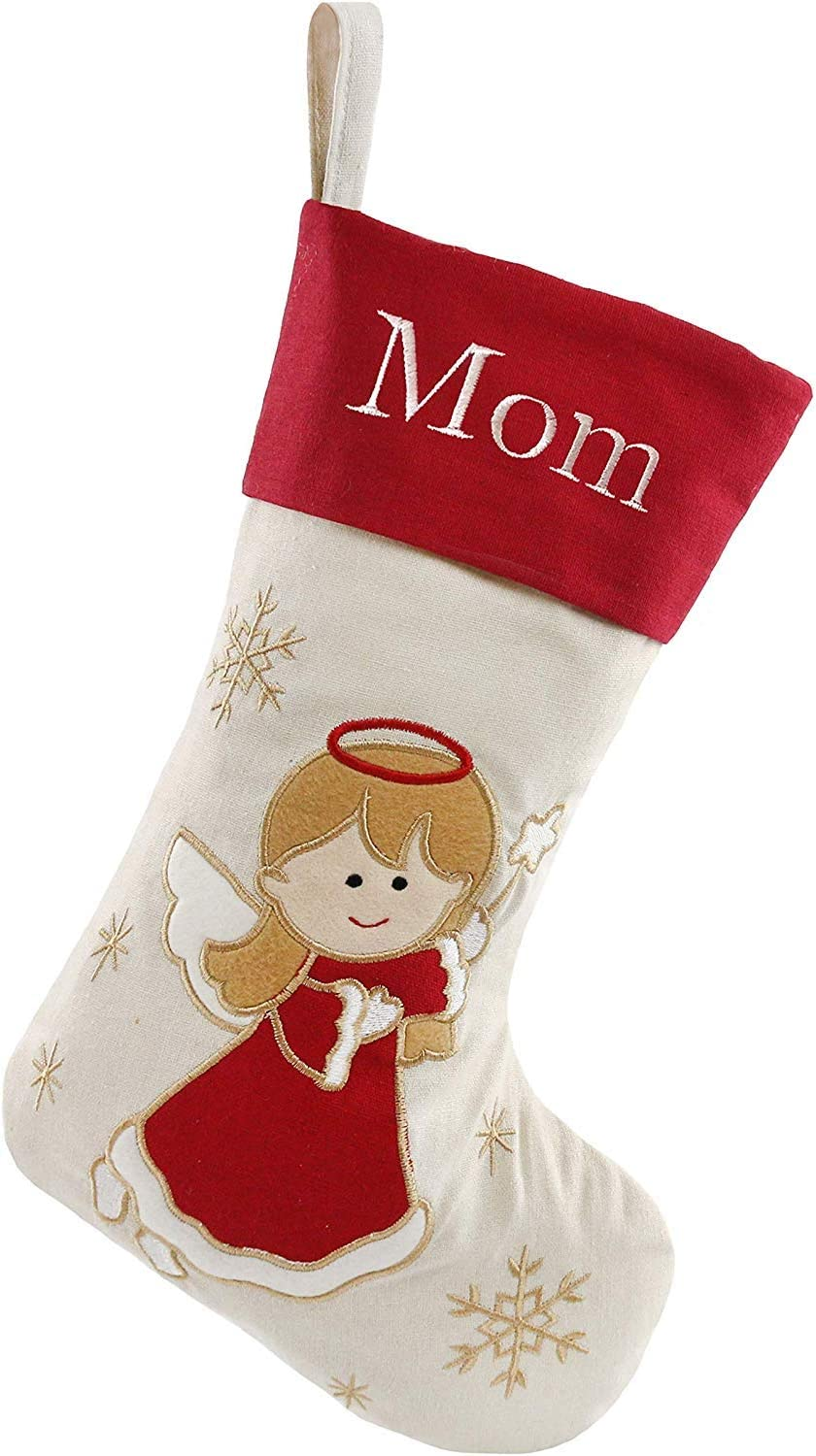 Free Update to Expedited Santa,Snowman,Reindeer,Angel,with Embroidery Technology for Family DearSun Set of 4,18 Personalized Customization Christmas Stockings 4 Design-1