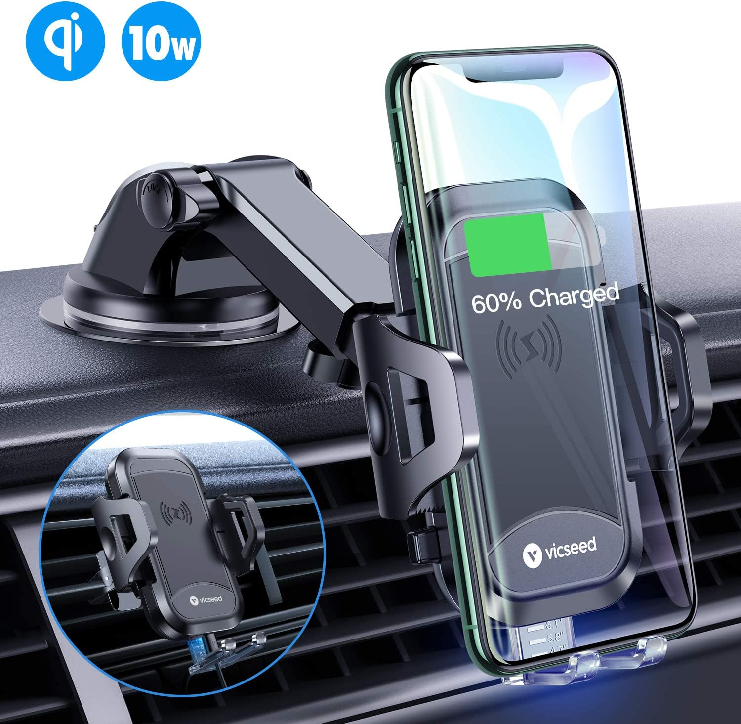 VICSEED Universal Wireless Car Charger Mount Qi Fast Charging 10W 7.5W Dashboard Windshield Air Vent Phone Holder for Car Mount Fit for iPhone SE 11 Pro Max XS XR Samsung S20 Note10 Note9 S10 S9 LG