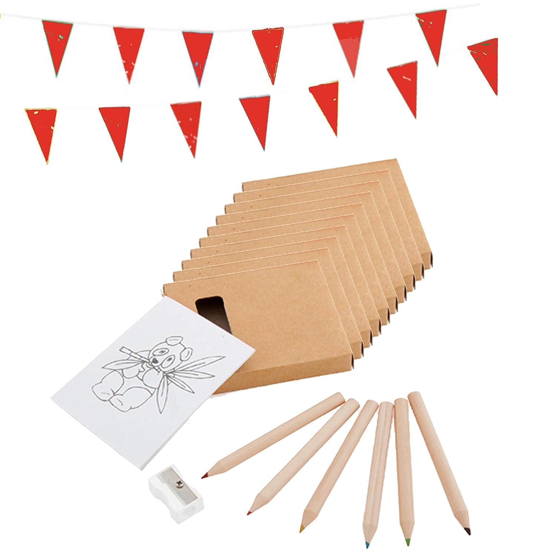 Piñatas de Cumpleaños Infantiles Partituki. 20 Packs para Colorear: 6 Lápices de Colores, 1 Bloc con Dibujos, 1 Sacapuntas y 1 Guirnalda de 10 m. ...