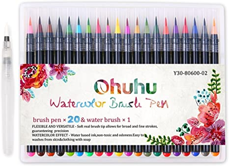 Ohuhu Set of 12 Aqua Painting Brushes for Water Soluble Colored Pencils Water Color Water-Base Markers Powdered Pigment Watercolor Paints for Christmas Gifts Water Coloring Brush Pens