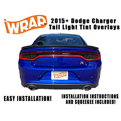 iWrap NY 2015-20 Dodge Charger Tail Light Tint Kit | Exact Cut Dark Smoke Vinyl Overlays for 2015-2020 Dodge Charger Taillight | Tinted Dry Application Film: Automotive