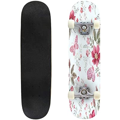 "Flower Seamless Pattern with Beautiful White Lily and Wild Flowers on Outdoor Skateboard 31""x8"" Pro Complete Skate Board Cruiser 8 Layers Double Kick Concave Deck Maple Longboards for Youths Sports : Sports & Outdoors"