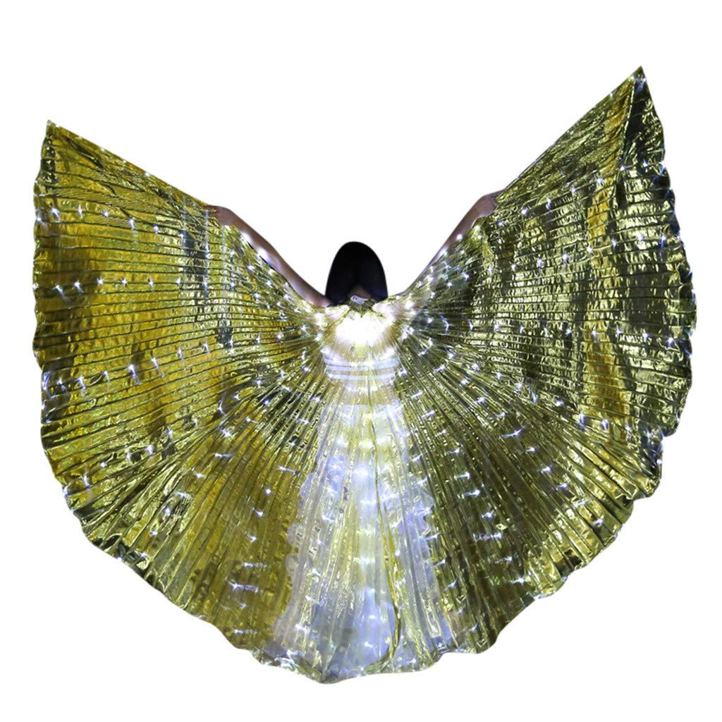 LED Belly Dance Isis Wings for Women, Colorful Butterfly Shawl Fairy Ladies Cape Nymph Pixie Costume Angel Wings with Telescopic Sticks for Halloween Carnival Performance Clothing (Gold,B)