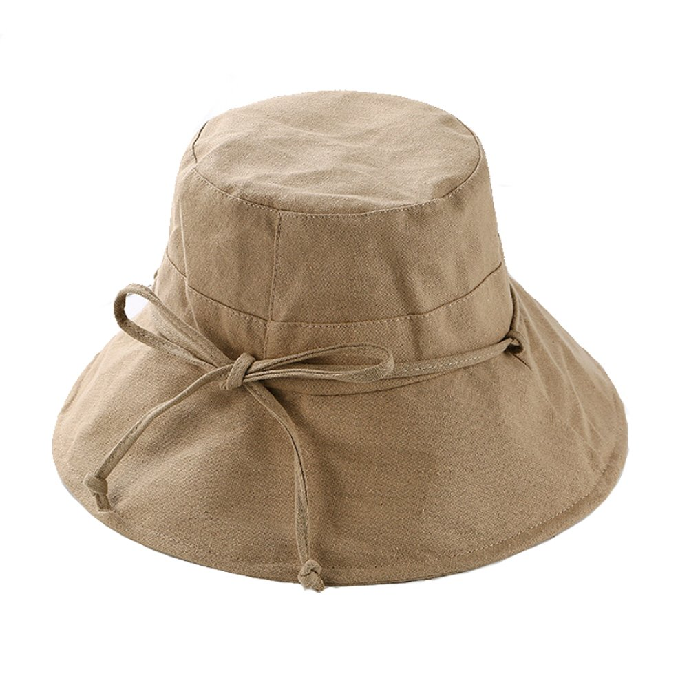 Mon Placard Bucket Hat Cotton and Linen Cloth Cap Large Eaves Outdoor Sun Block Hat Foldable Hat for Summer HQQ (Khaki)