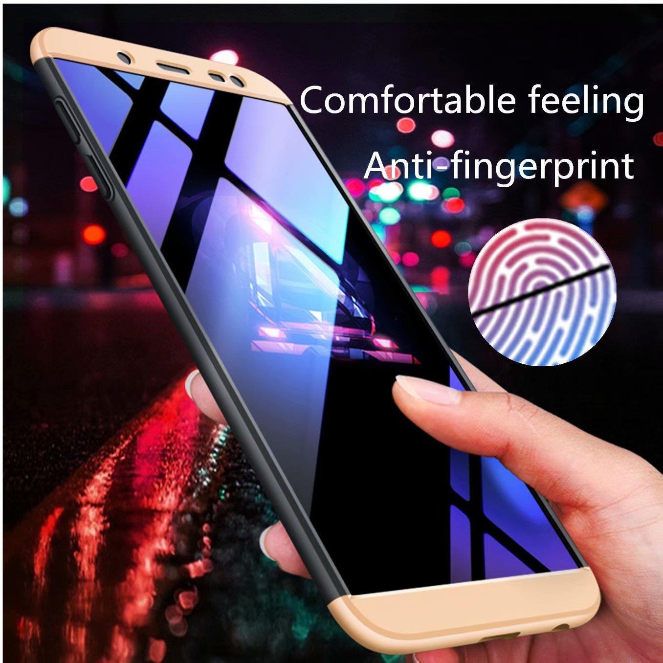 AILZH Compatibles para Funda Samsung Galaxy J6 Plus 2018 Carcasa+ Rojo Negro Cristal Templado 360 Grados Caja protecci/ón de c/áscara Dura Anti-Shock Caso Mate Bumper Antichoque Case Cover
