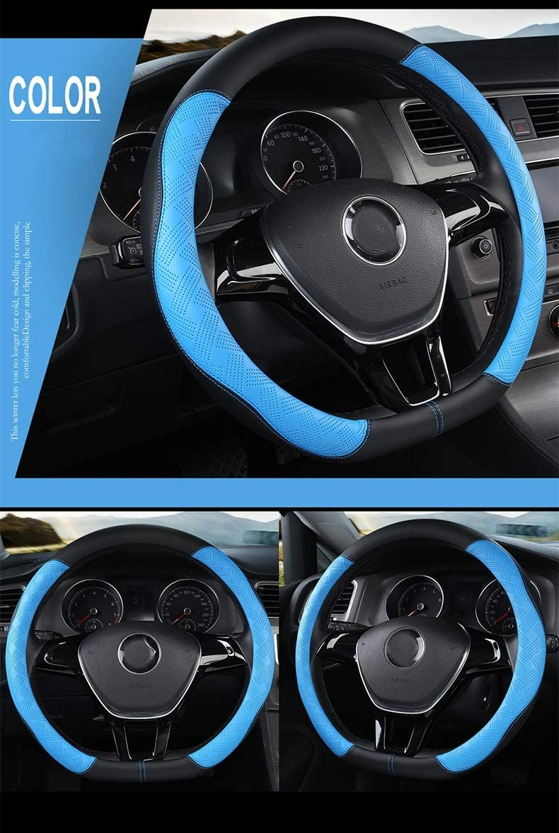 D Type Steering Wheel Cover,Microfiber Leather Breathable Anti-Slip Flat Bottom Shaped Steering Wheel Cover Steering Accessories for Women Men 15inch,White