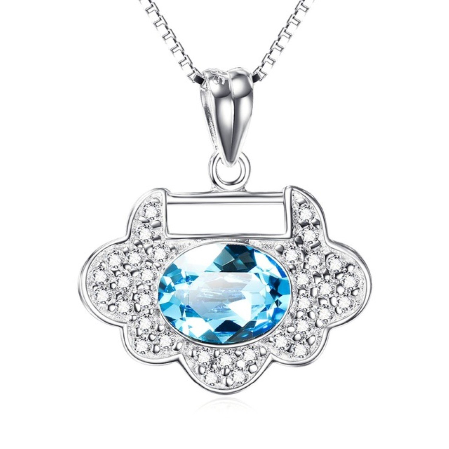 CS-DB Blue Crystal CZ Flower Shape Top Stylish Silver Necklaces Pendants