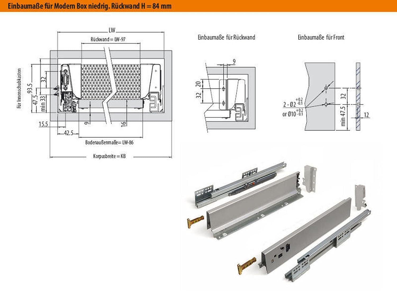 SO-TECH/® Schubkastensystem wei/ß H/öhe 450 mm Schublade Schubkasten 84 mm Tiefe