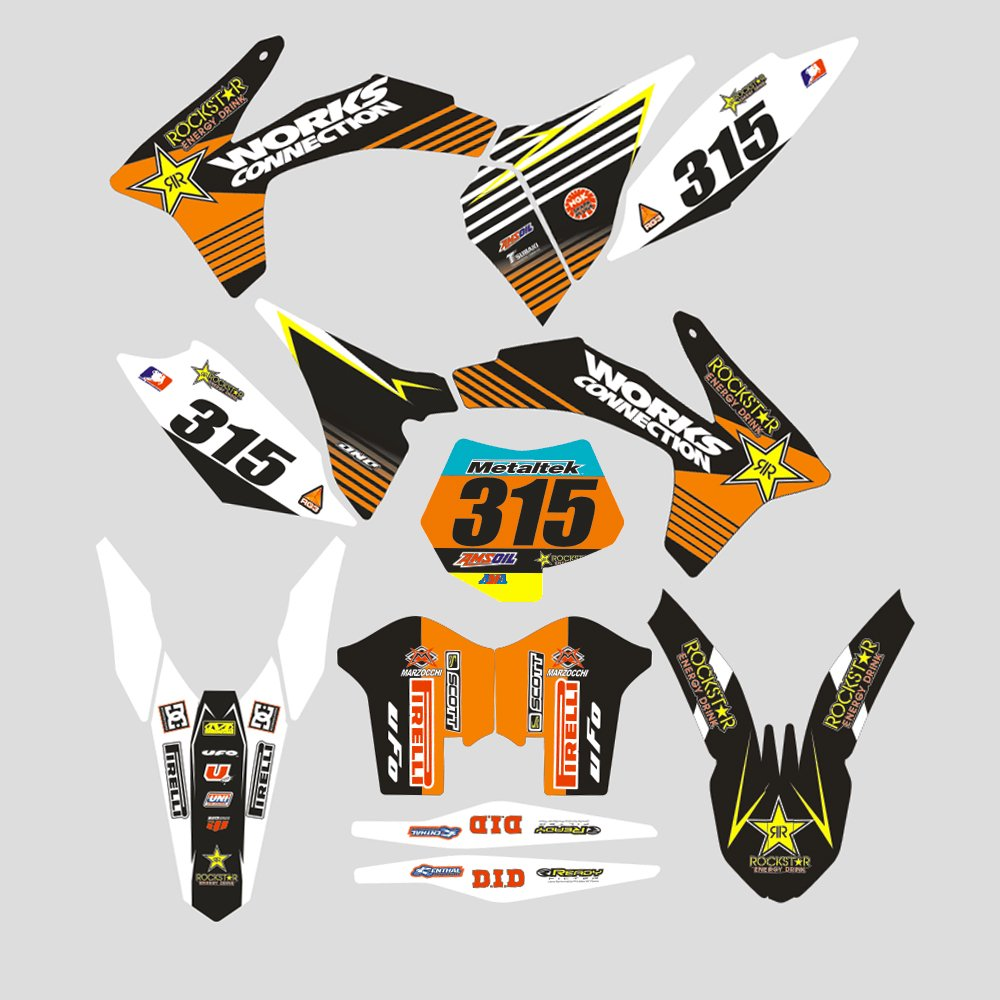Amazon com jfg racing custom motorcycle complete adhesive decals stickers graphics kit for ktm 125 150 250 350 450 sx sx f sxf xc xc f xcf 2011 2012