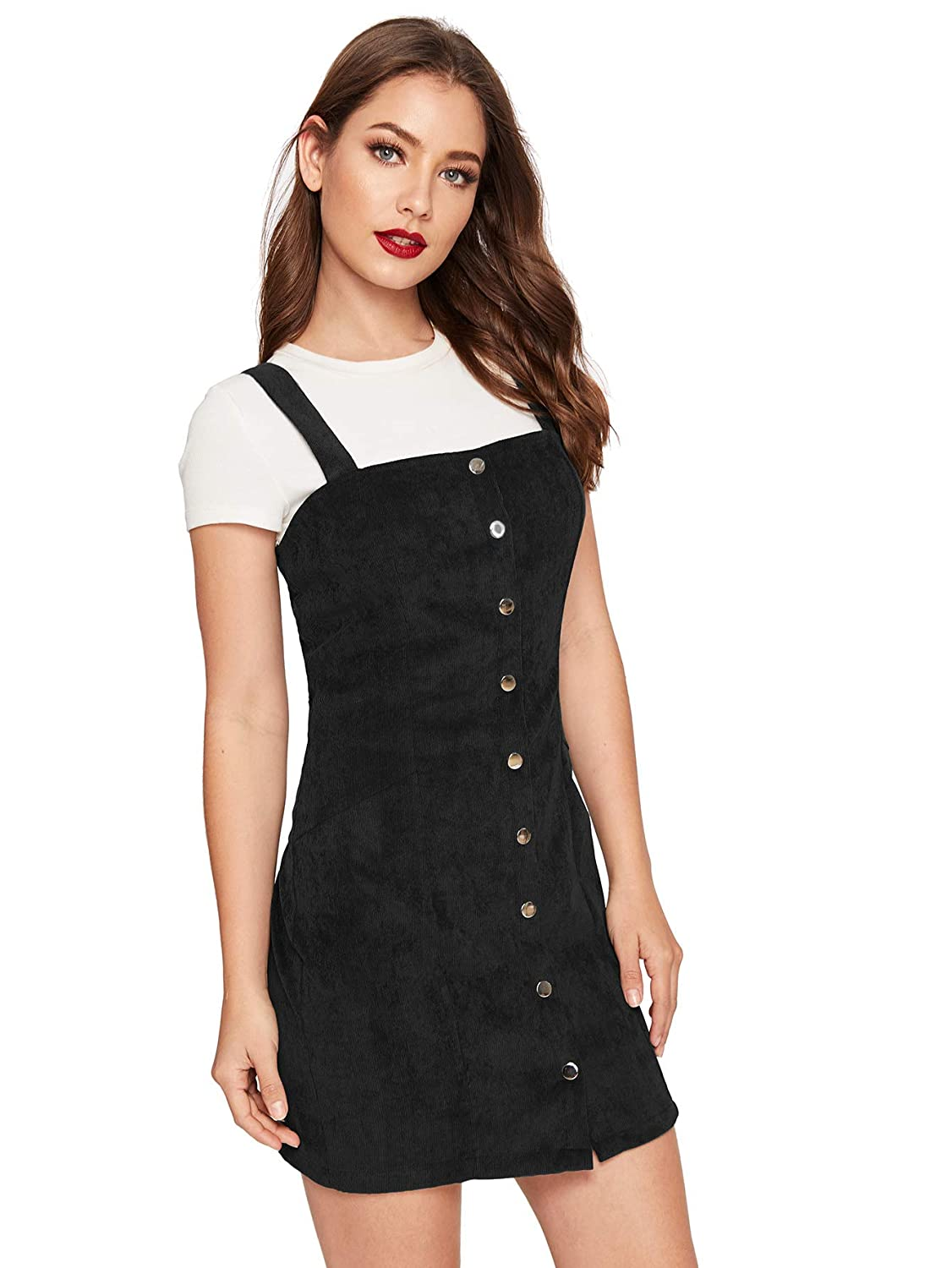 e30ddf1e3 Floerns Women's Cute Strap Button up Corduroy Overall Sheath Pinafore Dress  at Amazon Women's Clothing store: