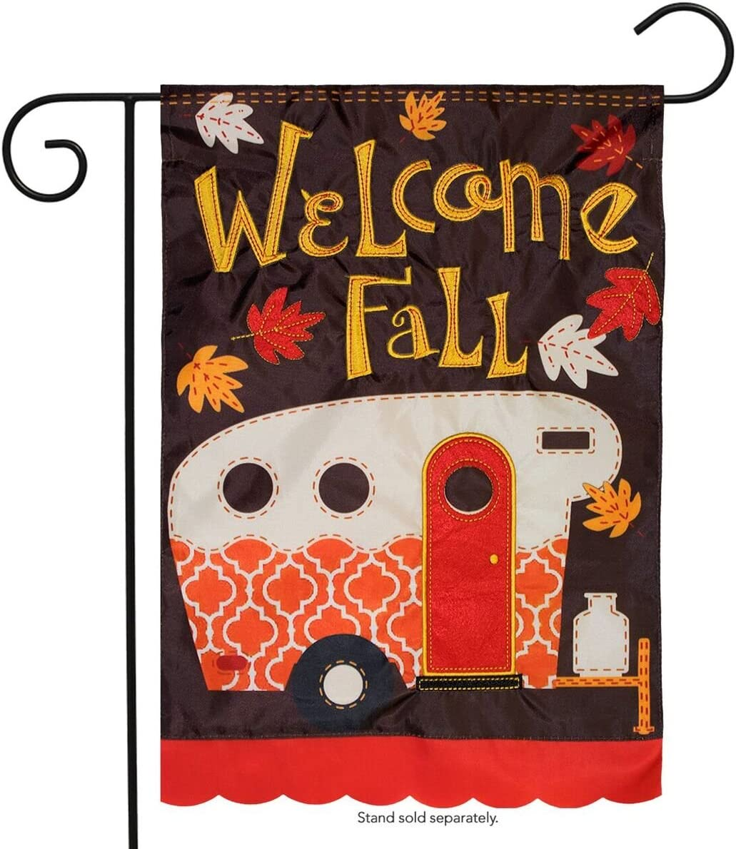 "Briarwood Lane Fall Camper Applique Garden Flag Autumn Camping RV 12.5"" x 18"""