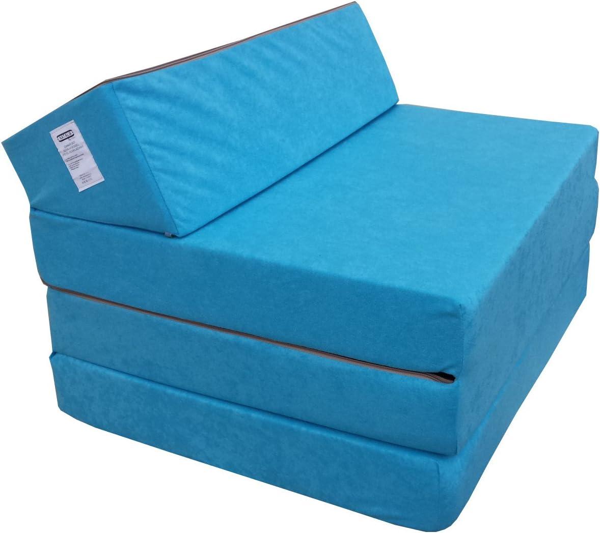 Natalia Spzoo Colchón Plegable Cama de Invitados colchón de Espuma 200x70 cm FM (Azul)