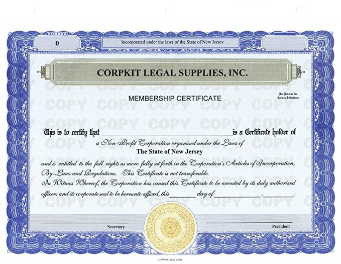 Amazon 20 Orange Corpkit Customized Stock Certificates Stub