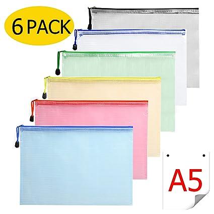 Bolsa Zip Transparente - 6 Piezas Bolsas Transparentes A5 Carpeta Plastico Documentos con Cremallera Cierre