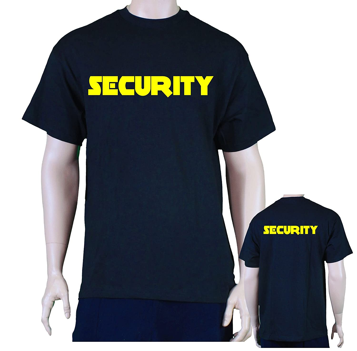 Black t shirt security - Amazon Com Print Front Back Security T Shirt Men S Event Staff Tee Black Neon Yellow Clothing