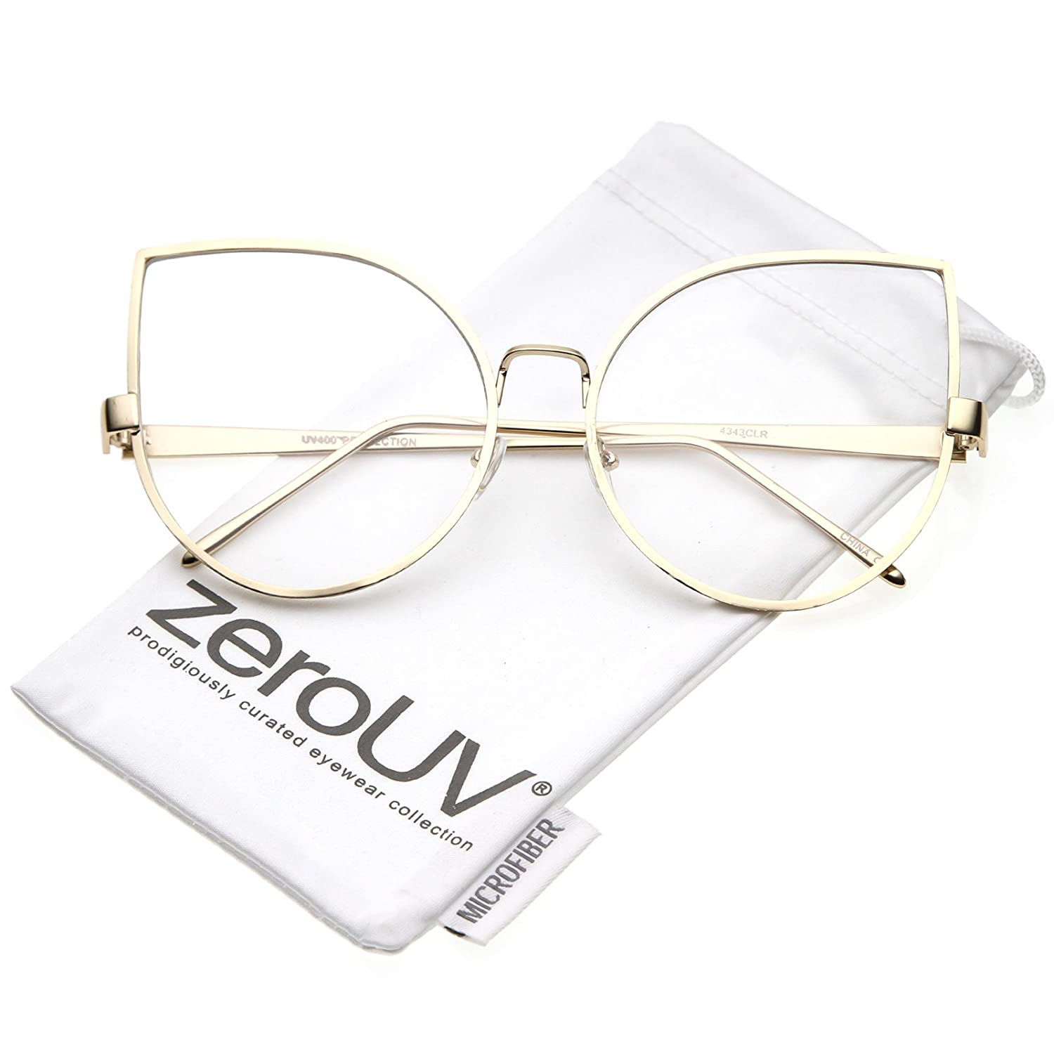 182cea63564 Amazon.com  zeroUV - Oversize Slim Metal Arms Round Clear Flat Lens Cat Eye  Glasses 62mm (Gold Clear)  Clothing