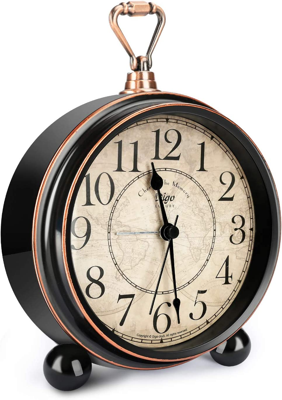 Welltop Despertador Retro para Sala de Estar Mesa Escritorio Dormitorio Vintage Clásico Sin tictac Pasado de Moda Reloj de 5 Pulgadas Funciona con Pilas para durmientes Pesados, Negro