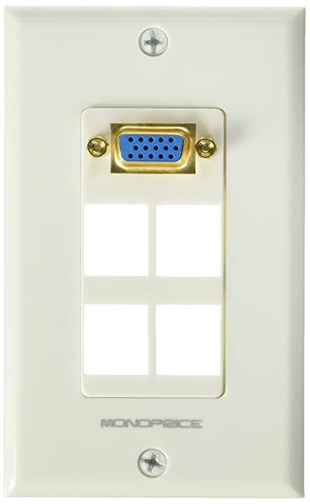 Amazon monoprice 108731 wall plate for keystone 4 hole with monoprice 108731 wall plate for keystone 4 hole with built in vga coupler gold plated ccuart Images