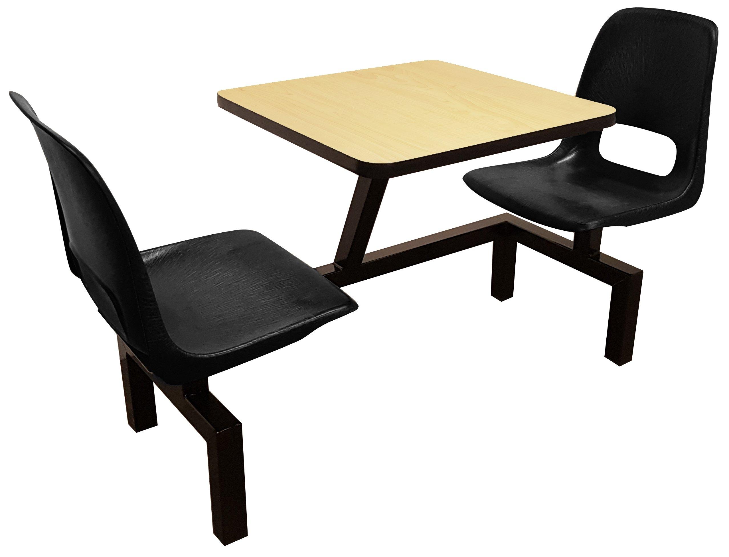 Rodo Industries 12STW-BK-FM 12STW,BK,FM Series 1 Public Cluster Modular Seating, Two Seat Wall Units, Black Seat, Fusion Maple Tabletop, 60'' x 24'' x 29''