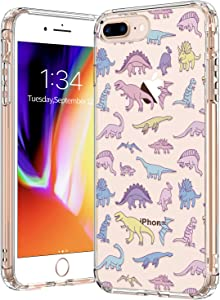 BICOL iPhone 8 Plus Case, Dinosaurs Pattern Clear Design Transparent Plastic Hard Back Case with TPU Bumper Protective Case Cover for Apple iPhone 8 Plus/iPhone 7 Plus