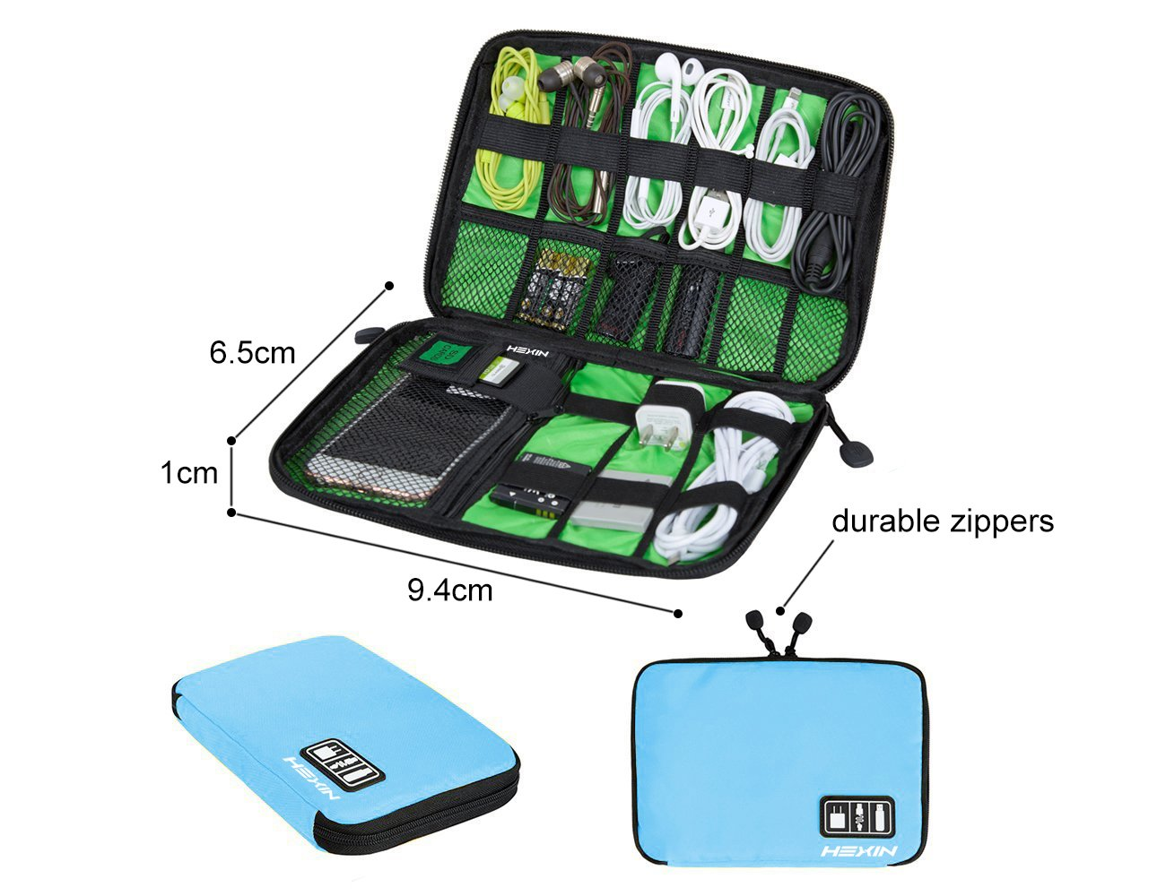 Portable Double Layer Travel Gear Cable Organizer Electonics Bags (Blue)