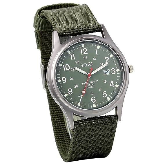 Avaner Reloj de Hombre Correa de Nylon Reloj Militar Deportivo, Verde Reloj de Piloto Ligero Reloj de Cuarzo Japonés, Reloj con Calendario de Fecha: ...
