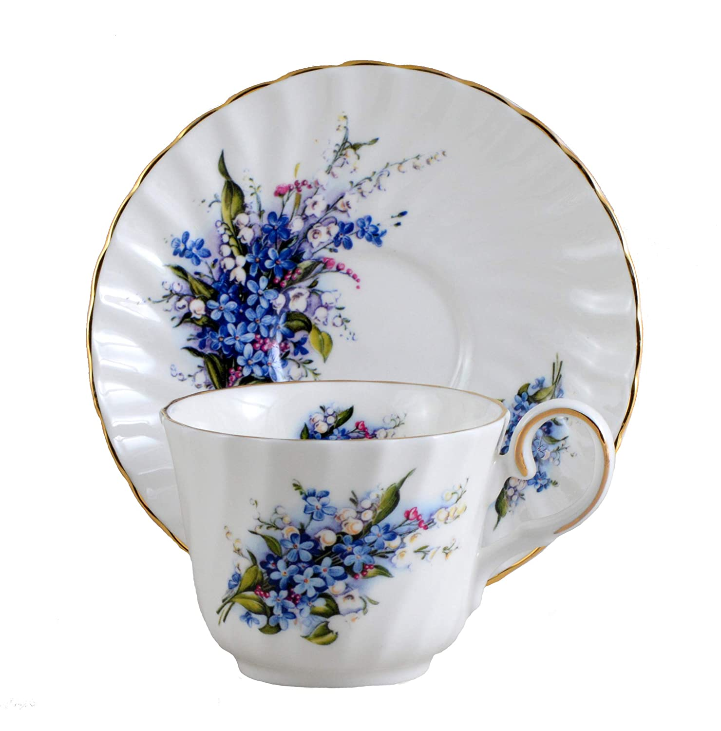 Forget Me Not Cup & Saucer - English Bone China Imperial Porcelain Teaware