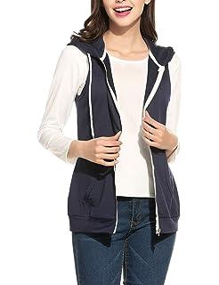 1934006b03542b Parabler Damen Weste Ärmellos Jacke mit Kapuze Taschen Reverskragen  Freizeit Sport Hoodie