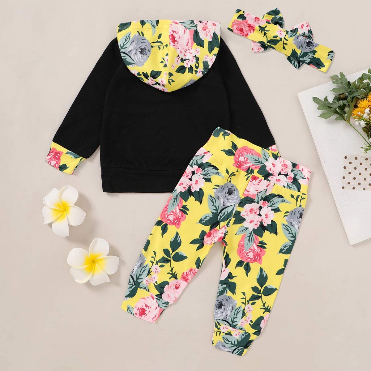 Baby Girls Navy Blue Lightweight Knit Floral Sweatsuit Clothing Set Navy with Flowers