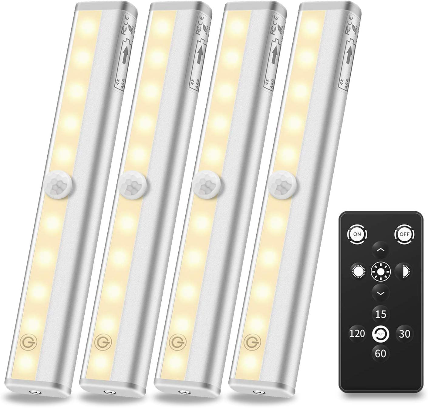 4 Pack LED Under Cabinet Lighting Remote Control Under Counter Lights 3000K