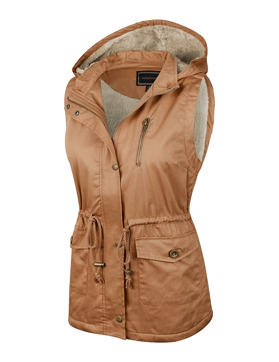 YJV0018-34CAMEL-1XL S-3XL makeitmint Womens Soft Faux Fur Lined Anorak Utility Hooded Jacket Vest