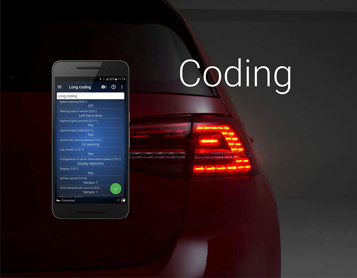 OBDeleven Pro Bluetooth Scan Tool for Android: Full System Diagnostics,  Programming and Monitoring Compatible with Audi and VW