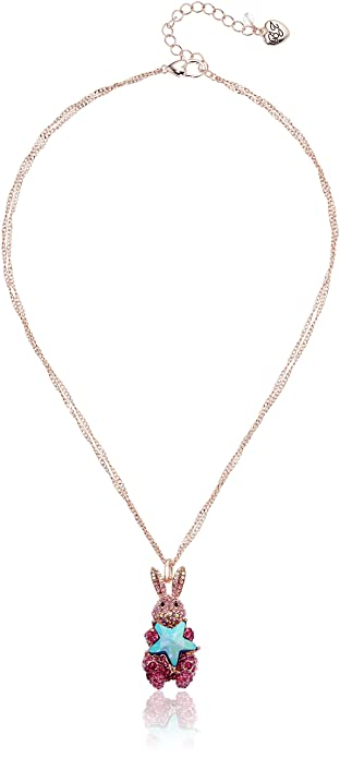 Amazon betsey johnson rose gold and pink bunny pendant necklace betsey johnson rose gold and pink bunny pendant necklace aloadofball Images