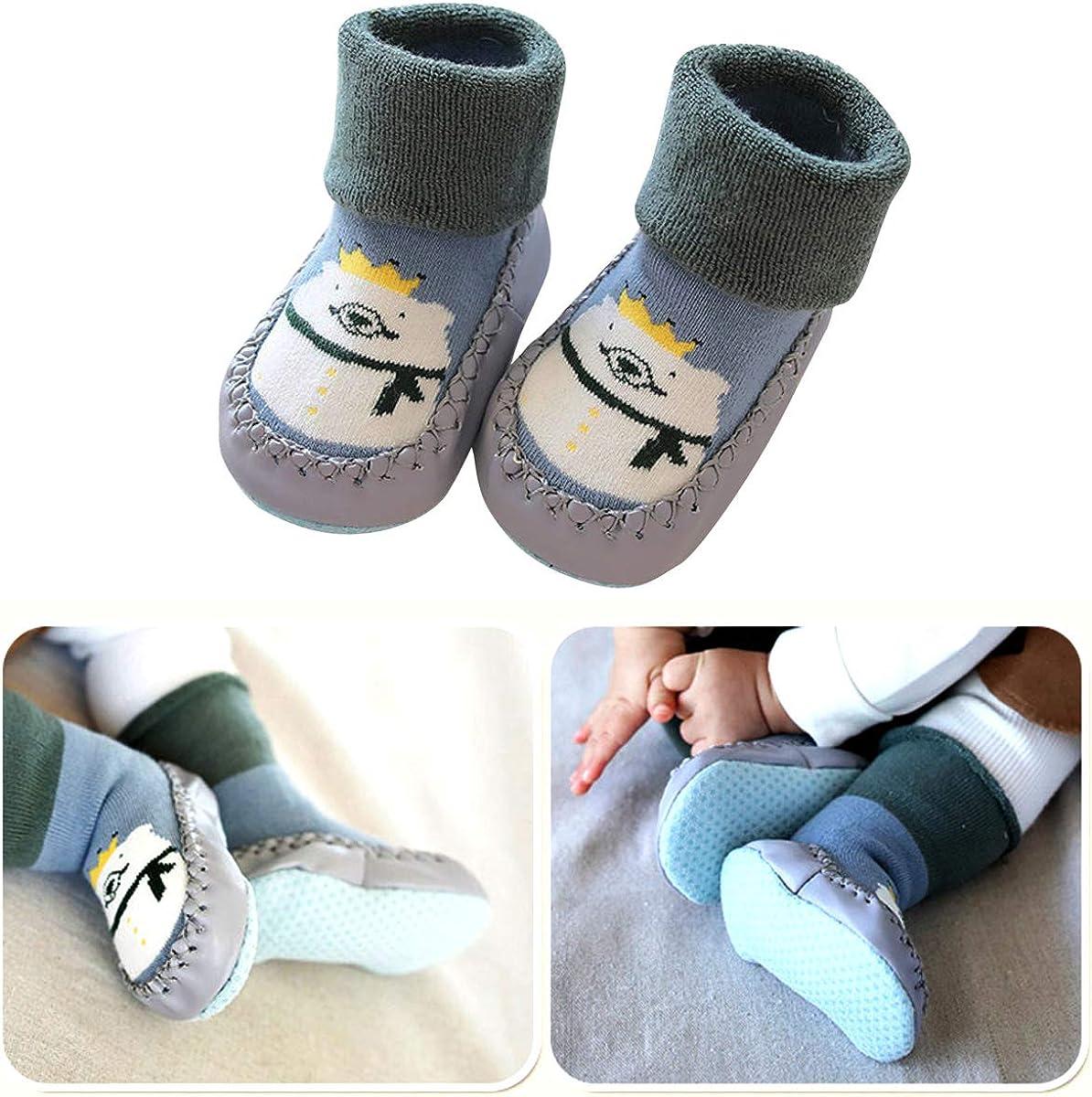NATUCE Calcetines de Bebe Antideslizantes Zapatos Bebe de Primer Paso Casa Calcetines de Piso Calcetines Grueso de Invierno con Suela Blanda para Beb/és Ni/ña Ni/ño