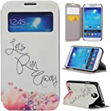 Galaxy S4 Case,Samsung Galaxy S4 Case,Gift_Source Samsung Galaxy S4 Flip Case [Slim Fit] Window View PU Leather Case Flip Cover Folio Case for Samsung Galaxy S4 i9500 Case,Flower