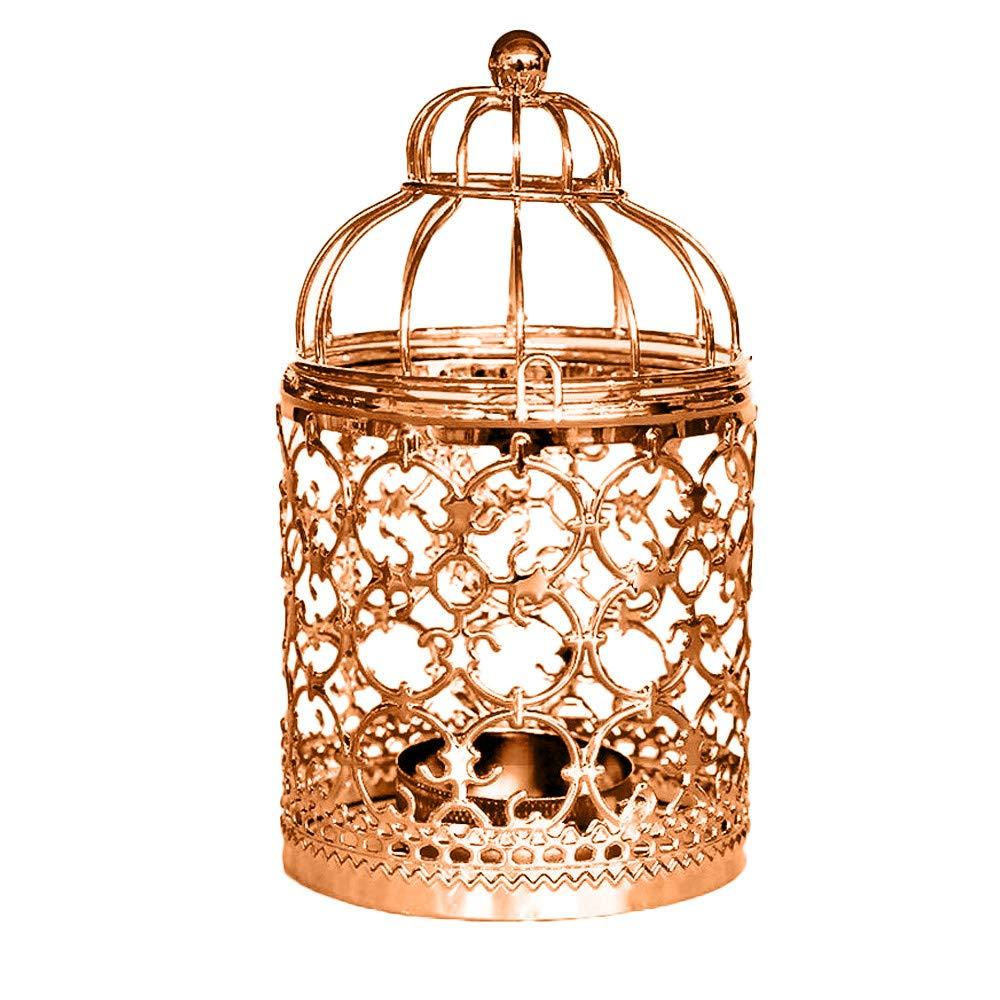 Quaanti Metal Candle Holder,Iron Birdcage Shape Candlestick Lantern, Centerpiece Decorative Hollow Hanging Out Table Tea Wax Candle Holder Party Home Wedding Decoration (Rose Gold)
