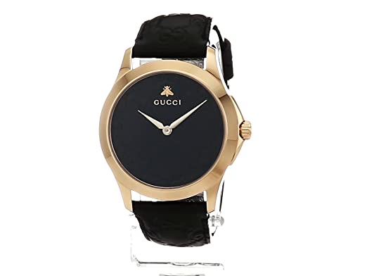 Amazon.com: Gucci Gold-Tone and Leather Casual Black Watch(Model: YA1264034): Watches