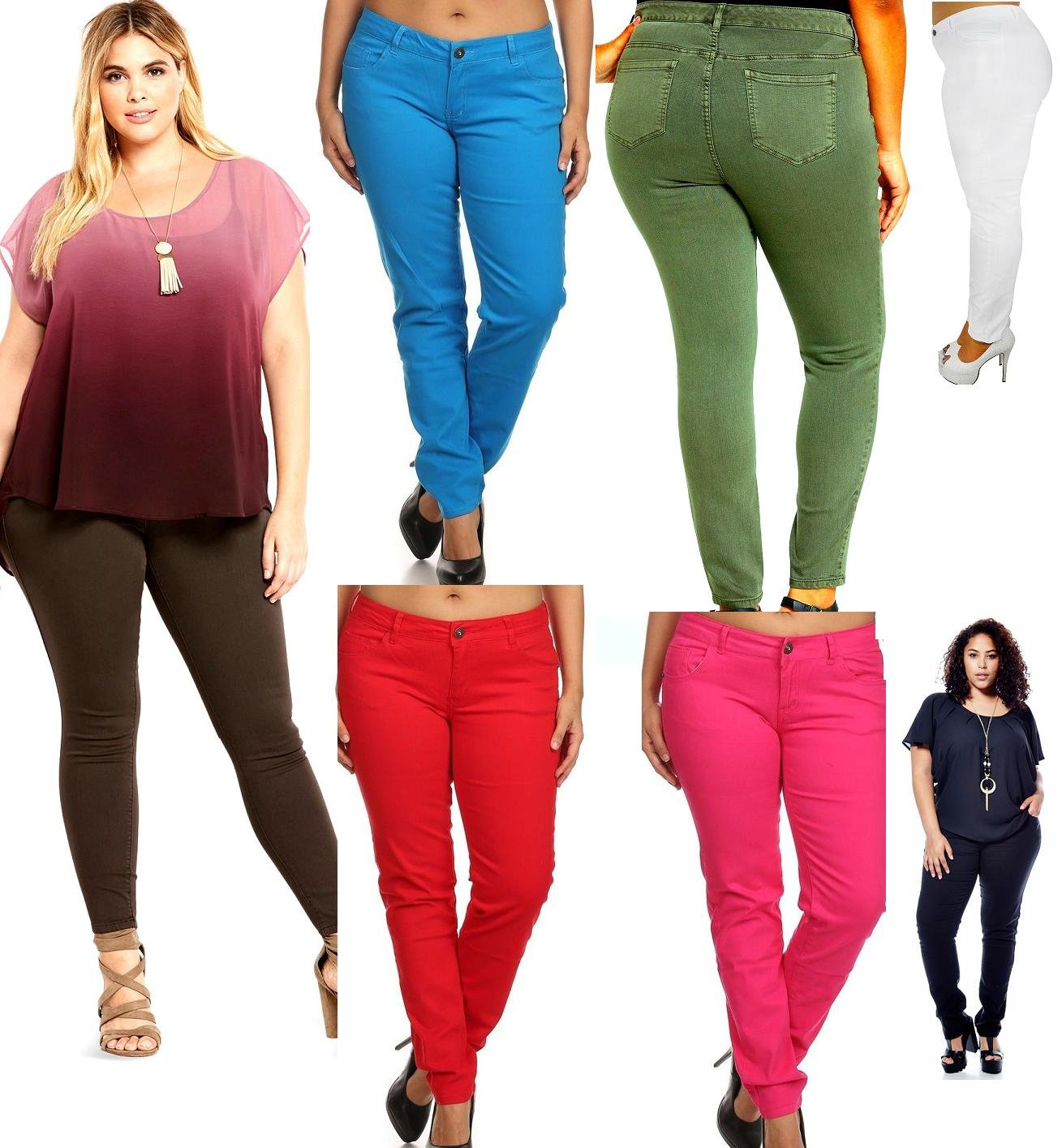 New 1826 Stretch Premium Twill Pants MID-RISD Womens Plus Size Skinny Pants (14 Plus, Red)