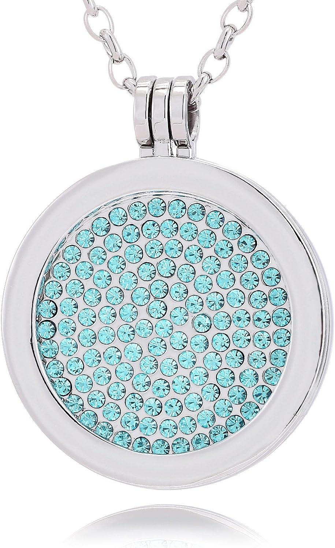 Morella Mujeres Collar 70 cm Acero Inoxidable y Colgante Amuleto Coin 33 mm en Bolsa para Joyas