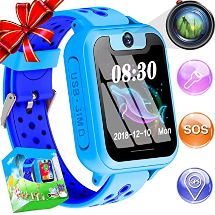Kids Smart Watch Phone With GPS Tracker IP68 Waterproof for 3-14 Girls Boys 1.44