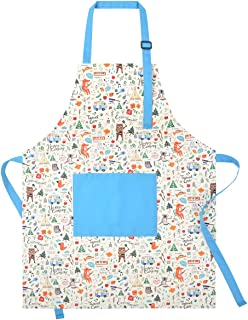 KinHwa Cotton Aprons for Kid Adjustable Apron for Child with Pocket Kitchen Cooking Apron for Children for Boys or Girls Perfect for 4-8 Years Old