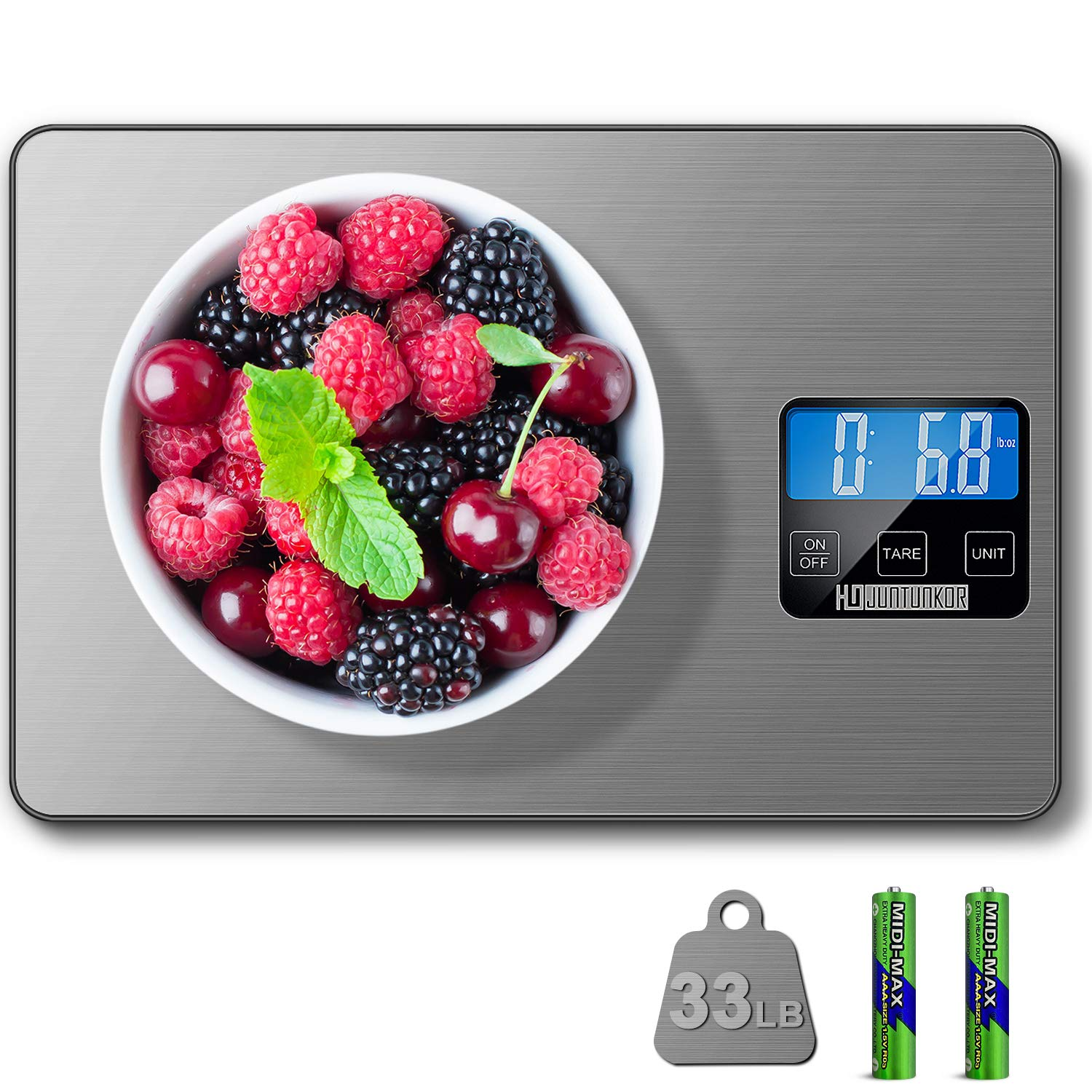 HDJUNTUNKOR Food Scale, 33lb Digital Kitchen Scale Weight Grams and Ounces for Cooking Baking, 1g/0.1oz Precise Graduation, 5 Units LCD Display Scale, Stainless Steel and Tempered Glass