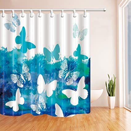 HiSoho Vector Blue Splashing Butterfly Shower Curtain Mildew Resistant Waterproof Polyester Fabric Bathroom Decorations
