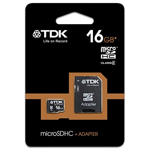 TDK 16GB Class 4 Micro SDHC Memory Card with Adapter